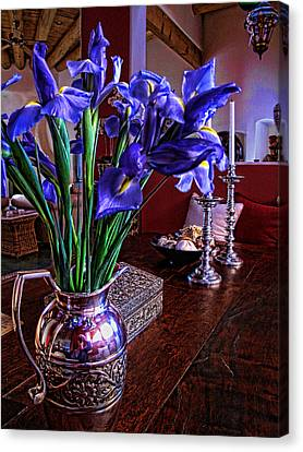 Iris In Silver Pitcher Canvas Print by Paul Cutright