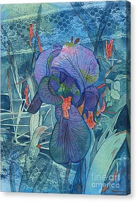 Iris Lace With Wild Columbine Canvas Print