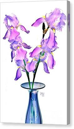 Canvas Print featuring the digital art Iris Still Life In A Vase by Marsha Heiken