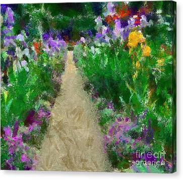 Iris Time In Giverny Canvas Print by Dragica  Micki Fortuna
