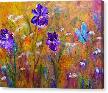 Iris Wildflowers And Butterfly Canvas Print