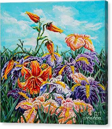 Iris With Daylily Canvas Print