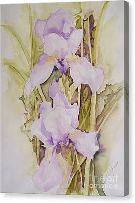 Canvas Print featuring the painting Irises by Jackie Mueller-Jones