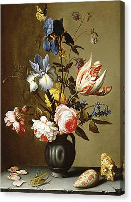 Irises, Roses, Columbine, Hyacinth And A Tulip In A Black Pottery Pitcher Canvas Print by Balthasar van der Ast