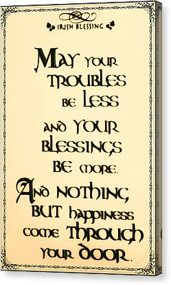 Irish Blessing Canvas Print by Bill Cannon