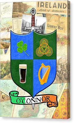Irish Coat Of Arms - O'connor Canvas Print by Mark E Tisdale