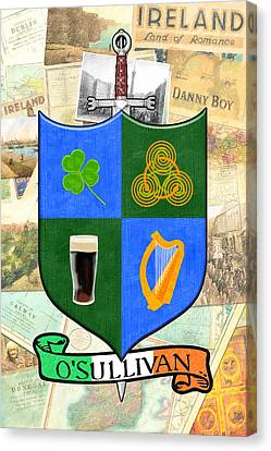 Irish Coat Of Arms - O'sullivan Canvas Print by Mark E Tisdale