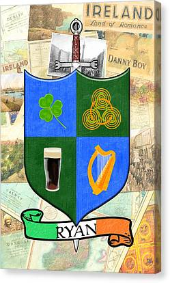 Irish Coat Of Arms - Ryan Canvas Print by Mark E Tisdale