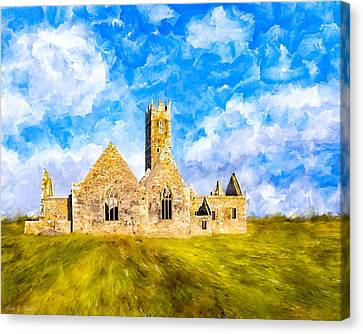Irish Monastic Ruins Of Ross Errilly Friary Canvas Print by Mark E Tisdale