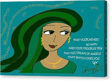 Irish Poem - May Your Heart Be Happy Canvas Print by Sharon Augustin