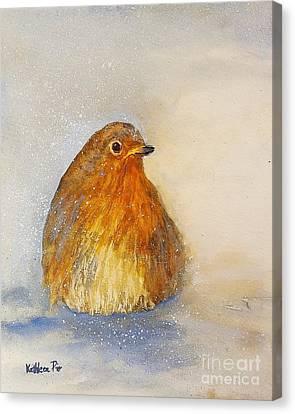 Irish Robin In The Snow Canvas Print by Kathleen Pio