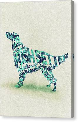 Irish Setter Watercolor Painting / Typographic Art Canvas Print