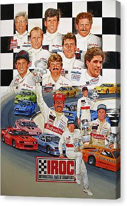 Canvas Print featuring the painting Iroc Racing by Cliff Spohn