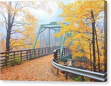 Iron Bridge In Autumn Canvas Print by John Burk