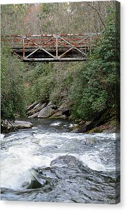 Iron Bridge Over Chattooga River Canvas Print by Bruce Gourley