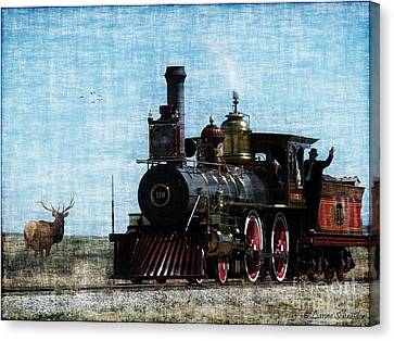 Iron Horse Invades The Plains Canvas Print by Lianne Schneider