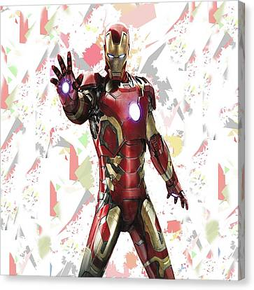 Canvas Print featuring the mixed media Iron Man Splash Super Hero Series by Movie Poster Prints