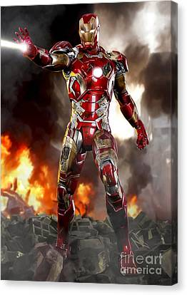 Iron Man With Battle Damage Canvas Print by Paul Tagliamonte