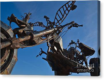 Iron Motorcycle Sculpture In Faro Canvas Print