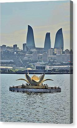 Iron Rose Baku. Fountain. Caspian Sea. Canvas Print by Andy Za