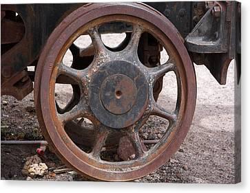 Canvas Print featuring the photograph Iron Train Wheel by Aidan Moran