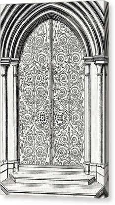 Iron Work On The East Door Of St Canvas Print by Vintage Design Pics