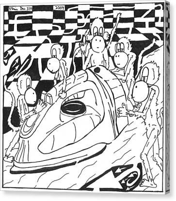 Ironing Monkeys Maze Cartoon Canvas Print by Yonatan Frimer Maze Artist