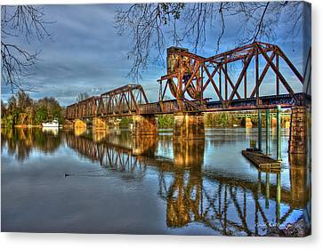 Ironman Canvas Print - Ironman Truss Augusta Ga 6th Street Trestle Bridge by Reid Callaway