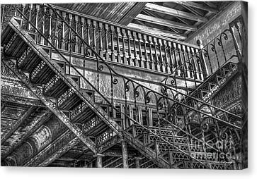Ironworks Stairs Bw Historic Interior Design Art Canvas Print by Reid Callaway