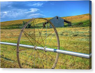 Irrigation Water Wheel Hdr Canvas Print by James Hammond