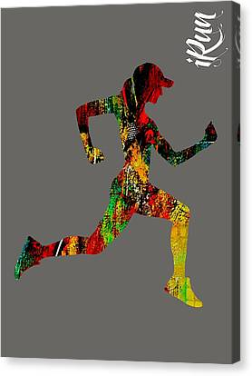 iRun Fitness Collection Canvas Print by Marvin Blaine
