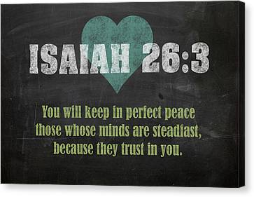 Isaiah 26 3 Inspirational Quote Bible Verses On Chalkboard Art Canvas Print by Design Turnpike