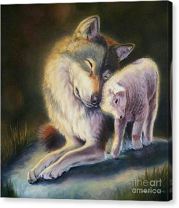 Isaiah Wolf And Lamb Canvas Print