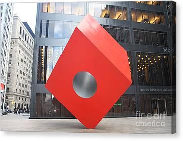 Isamu Noguchi Red Cube In Nyc Canvas Print by John Telfer
