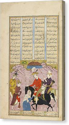 Iskander Replaces His Father On The Throne And Sultan Sanjar And The Old Woman Canvas Print by Celestial Images