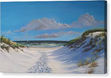 Canvas Print featuring the painting Island Beach Dune Walk by Ken Ahlering