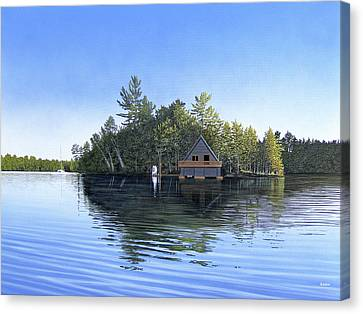 Canvas Print featuring the painting Island Boathouse Muskoka  by Kenneth M Kirsch