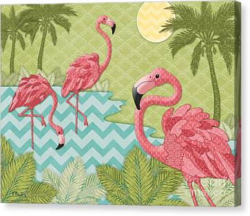 Island Flamingo - Horizontal Canvas Print by Paul Brent