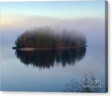 Island In The Autumn Mist Canvas Print by Sean Griffin