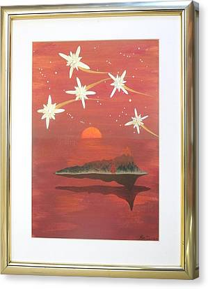 Canvas Print featuring the painting Island In The Sky With Diamonds by Ron Davidson