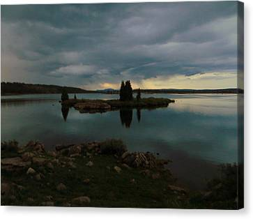 Canvas Print featuring the photograph Island In The Storm by Karen Shackles
