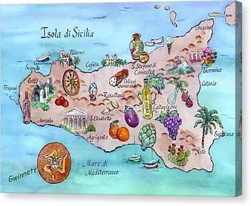 Island Of Sicily Canvas Print