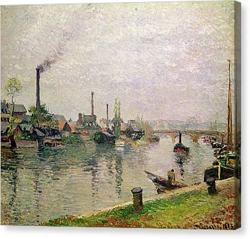 Island Of The Cross At Rouen Canvas Print by Camille Pissarro