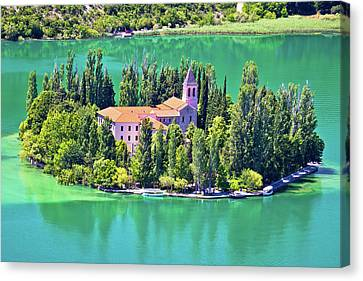 Island Of Visovac Monastery In Krka  Canvas Print by Brch Photography