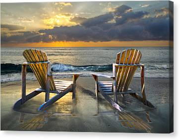 Adirondack Chairs On The Beach Canvas Print - Island Song by Debra and Dave Vanderlaan