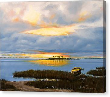Canvas Print featuring the painting Island Sunset by Rick McKinney