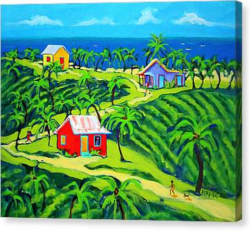 Island Time - Colorful Houses Caribbean Cottages Canvas Print