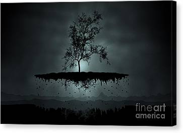 Pyrography Canvas Print - Island Tree Shadow Silhouette by Andy Maryanto
