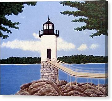Canvas Print featuring the painting Isle Au Haut Lighthouse by Frederic Kohli