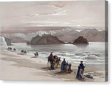Isle Of Graia Gulf Of Akabah Arabia Petraea Feby 27th 1839 Canvas Print by Munir Alawi
